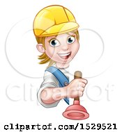 Happy White Female Plumber Holding A Plunger Around A Sign