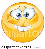 Clipart Of A Yellow Smiley Emoji With An Embarassed Grin Royalty Free Vector Illustration