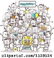 Clipart Of A Crowd Of Stick People Celebrating At A Birthday Party Royalty Free Vector Illustration