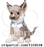 Clipart Of A Cute Puppy Dog Sitting Royalty Free Vector Illustration