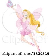Clipart Of A Pink Fairy With Long Blond Hair And A Butterfly Royalty Free Vector Illustration