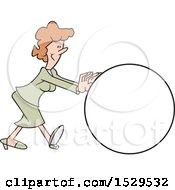 Clipart Of A Cartoon White Business Woman Getting The Ball Rolling Royalty Free Vector Illustration