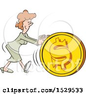 Poster, Art Print Of Cartoon Business Woman Getting The Ball Rolling Pushing A Dollar Coin Ball
