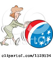 Clipart Of A Cartoon White Business Woman Getting The Ball Rolling With An American Theme Royalty Free Vector Illustration