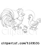 Clipart Of A Black And White Chicken Family With A Chick Hen And Rooster Royalty Free Vector Illustration