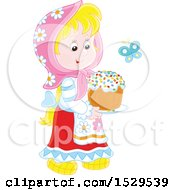 Blond Girl Carrying A Cake