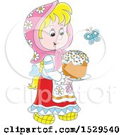 Happy Blond Caucasian Girl Carrying A Cake