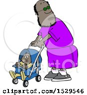Cartoon Black Dad Pushing A Baby In A Stroller