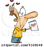 Clipart Of A Cartoon Man Holding Out A Valentines Day Card Royalty Free Vector Illustration