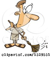 Clipart Of A Cartoon Male Roman Slave Sweeping Royalty Free Vector Illustration