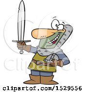 Clipart Of A Cartoon Male Castle Guard Holding A Sword Royalty Free Vector Illustration