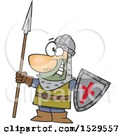 Clipart Of A Cartoon Male Castle Guard Holding A Spear And Shield Royalty Free Vector Illustration