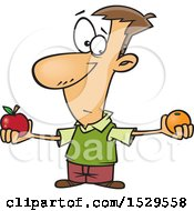 Clipart Of A Cartoon Caucasian Man Comparing Apples And Oranges Royalty Free Vector Illustration