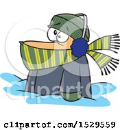 Clipart Of A Cartoon Bundled White Man Stuck In Snow Royalty Free Vector Illustration