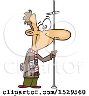 Clipart Of A Cartoon White Man Riding A Bus Holding Onto A Pole Royalty Free Vector Illustration