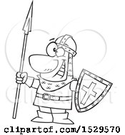 Cartoon Black And White Male Castle Guard Holding A Spear And Shield