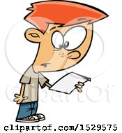 Clipart Of A Cartoon Boy Reading A Script Royalty Free Vector Illustration