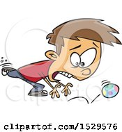 Clipart Of A Cartoon Chasing A Runaway Easter Egg Royalty Free Vector Illustration