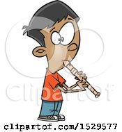 Clipart Of A Cartoon Boy Playing A Recorder Royalty Free Vector Illustration