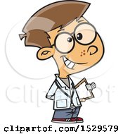 Clipart Of A Cartoon Doctor Boy Royalty Free Vector Illustration
