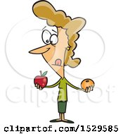 Clipart Of A Cartoon Caucasian Woman Comparing Apples And Oranges Royalty Free Vector Illustration by toonaday