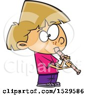 Clipart Of A Cartoon Girl Playing A Recorder Royalty Free Vector Illustration