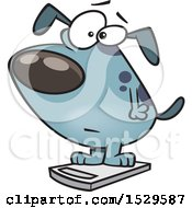 Clipart Of A Cartoon Obese Dog On A Scale Royalty Free Vector Illustration