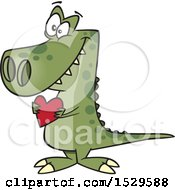 Clipart Of A Cartoon Sweet Dinosaur Holding A Valentine Love Heart Royalty Free Vector Illustration