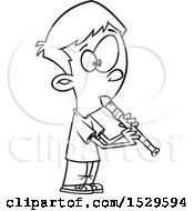 Clipart Of A Cartoon Lineart Boy Playing A Recorder Royalty Free Vector Illustration