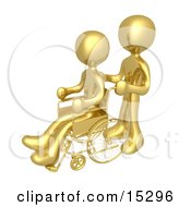 Gold Person Pushing Another Person In A Wheelchair In A Hospital