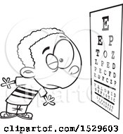 Clipart Of A Cartoon Lineart Boy Reading An Eye Chart During An Exam Royalty Free Vector Illustration