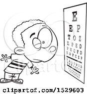 Cartoon Outline Boy Reading An Eye Chart During An Exam