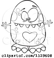 Poster, Art Print Of Cartoon Outline Monster With A Big Heart