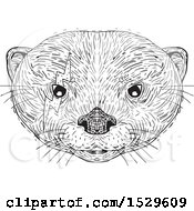 Clipart Of A Black And White Asian Small Clawed Otter Face With A Bolt Around One Eye In Drawing Sketch Style Royalty Free Vector Illustration by patrimonio