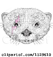 Clipart Of A Black And White Asian Small Clawed Otter Face With A Pink Bolt Around One Eye In Drawing Sketch Style Royalty Free Vector Illustration by patrimonio