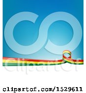 Poster, Art Print Of Bolivian Ribbon Flag Over A Blue And White Background