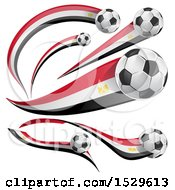 3d Soccer Balls And Egyptian Flags