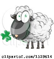 Clipart Of A Happy Irish Sheep Eating A Clover Shamrock Royalty Free Vector Illustration by Domenico Condello