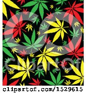 Clipart Of A Jamaican Rasta Marijuana Pot Leaf Background Royalty Free Vector Illustration