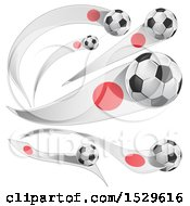 Poster, Art Print Of 3d Soccer Balls And Japanese Flags
