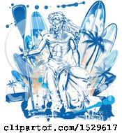 Neptune Holding A Paddle Over Surfboards With Palm Trees And Grunge