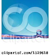 Poster, Art Print Of North Korean Ribbon Flag Over A Blue And White Background