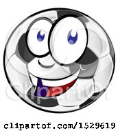 Clipart Of A Happy Smiling Soccer Ball Character Royalty Free Vector Illustration by Domenico Condello