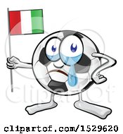 Crying Soccer Ball Mascot Holding An Italian Flag