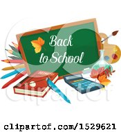 Poster, Art Print Of Back To School Design With A Chalk Board Book Pencils And Supplies