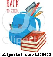 Poster, Art Print Of Back To School Design With A Backpack And Books