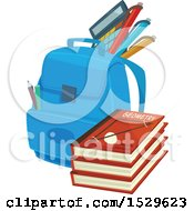 Clipart Of A School Design With A Backpack And Books Royalty Free Vector Illustration by Vector Tradition SM