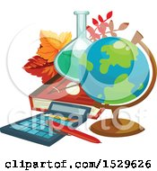 Clipart Of A School Design With A Desk Globe Science Flask Book Leaves And Calculator Royalty Free Vector Illustration by Vector Tradition SM