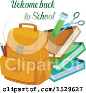 Poster, Art Print Of Welcome Back To School Design With A Backpack Books And Test Tube