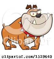 Clipart Of A Tough Tan Bulldog Wearing A Spiked Collar Royalty Free Vector Illustration by Hit Toon